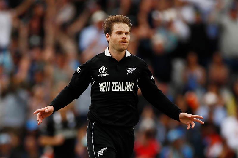 New Zealand's Lockie Ferguson celebrates after taking a  wicket. Photo: Reuters