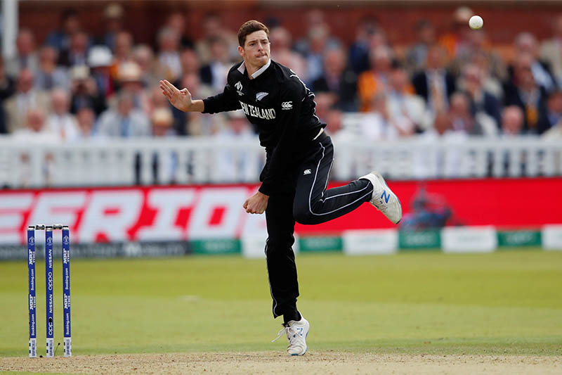 New Zealand's Mitchell Santner in action. Photo: Reuters