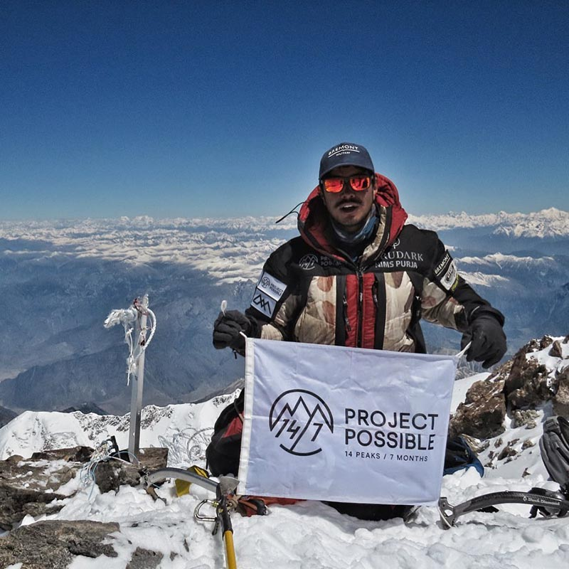 Nirmal 'Nims' Purja on the summit of Nanga Parbat. Courtesy: Project Possible