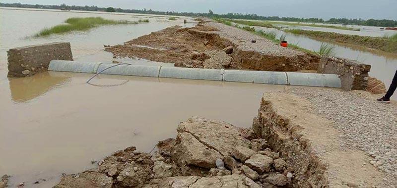 A view of the flood-damaged Postal Highway in Durga Bhagawati Rural Municipality, Rautahat, on Sunday, July 28, 2019. Photo: THT