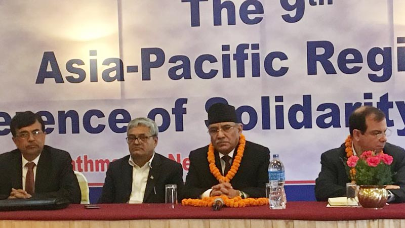 Co-chair of Nepal Communist Party (NCP) and former prime minister of Nepal, Pushpa Kamal Dahal participates in the 'Ninth Asia Pacific Regional Conference of Solidarity with Cuba', in Kathmandu, on Friday, July 26, 2019. Photo courtesy: CM Prachanda