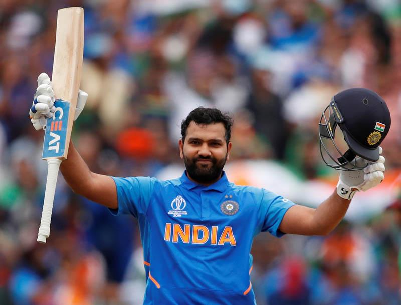 Cricket - ICC Cricket World Cup - Bangladesh v India - Edgbaston, Birmingham, Britain - July 2, 2019 India's Rohit Sharma celebrates his century. Photo: Reuters