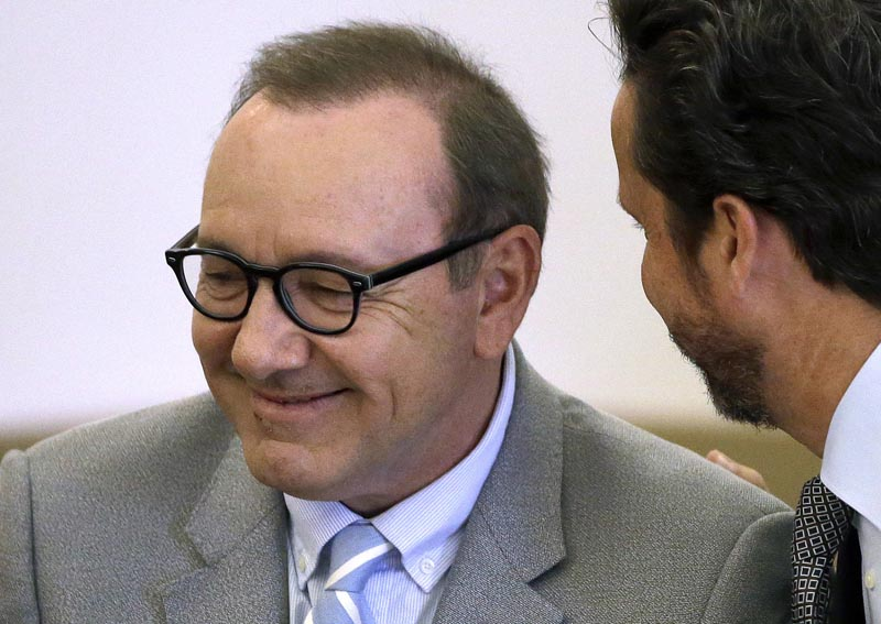 FILE: Actor Kevin Spacey listens to attorney Alan Jackson during a pretrial hearing at district court in Nantucket, Mass on June 3, 2019. Photo: AP