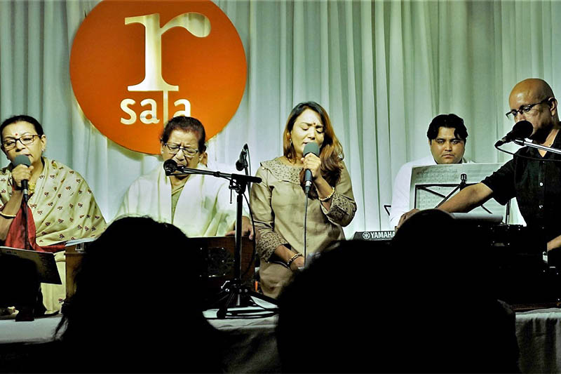 From left, singer Bimala Century, Shanti Thatal, Meena Niraula, and Aavaas performing Muna Madan at Paleti in Kathmandu, on Saturday, June 29, 2019. Courtesy: Nepalaya