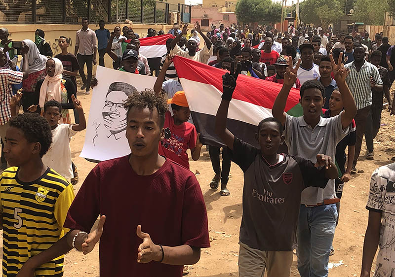 Sudanese protesters shout slogans during a demonstration against the ruling military council, in Khartoum, Sudan, Sunday, June 30, 2019. Photo: AP