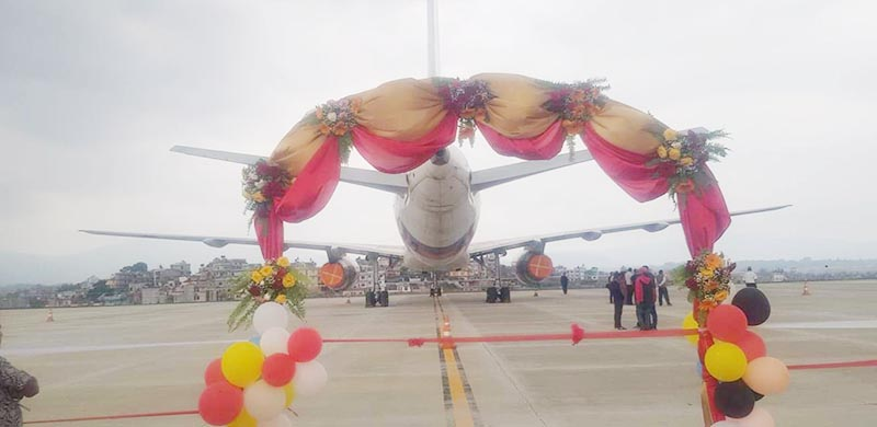Inauguration of remote parking bay at Tribhuvan International Airport recently. Photo: TIA/Facebook