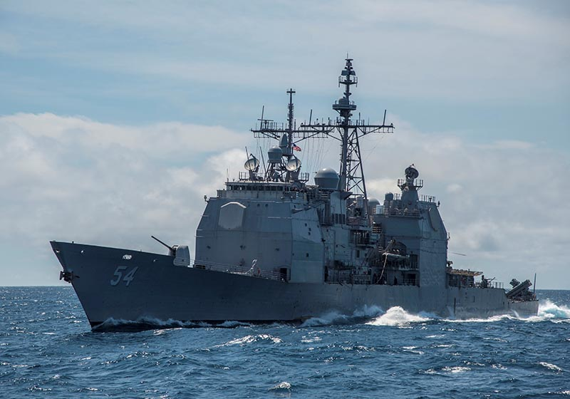 The guided-missile cruiser USS Antietam (CG 54) is shown in the South China Sea, March 6, 2016.  Photo taken March 6, 2016. Photo: Mass Communication Specialist 2nd Class Marcus L Stanley/US Navy/Handout via Reuters