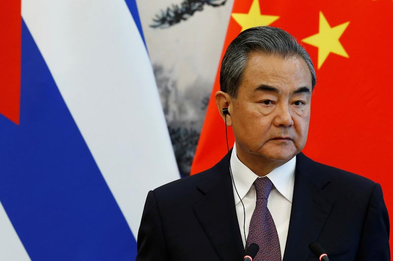 Chinese Foreign Minister Wang Yi attends a news conference with Cuban Foreign Minister Bruno Rodriguez (not pictured) at Diaoyutai state guesthouse in Beijing, China May 29, 2019. Photo: Reuters