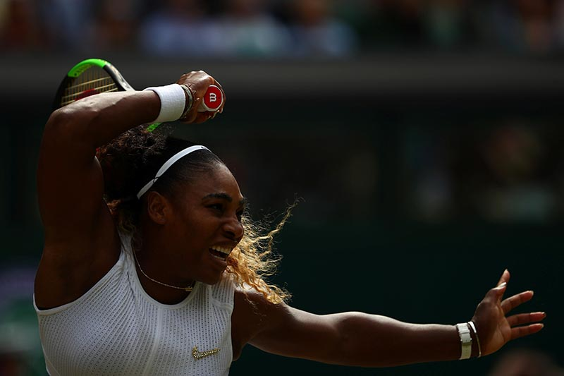Serena Williams of the US in action during the final against Romania's Simona Halep during the Wimbledon, at All England Lawn Tennis and Croquet Club, in London, Britain, on July 13, 2019. Photo: Reuters