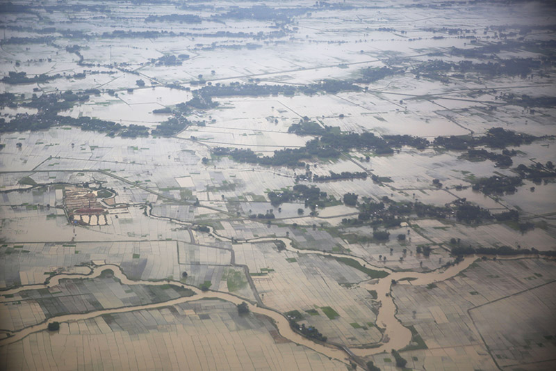 An aerial view of flooded land is pictured around different areas of Biratnagar, on Saturday, July 13, 2019. Photo: Skanda Gautam/THT