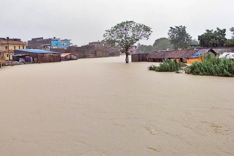 Following torential rainfall, flooded Sisiya River inundated Birgunj, on Wedensday, July 24, 2019. Photo: Ram Sarraf/THT