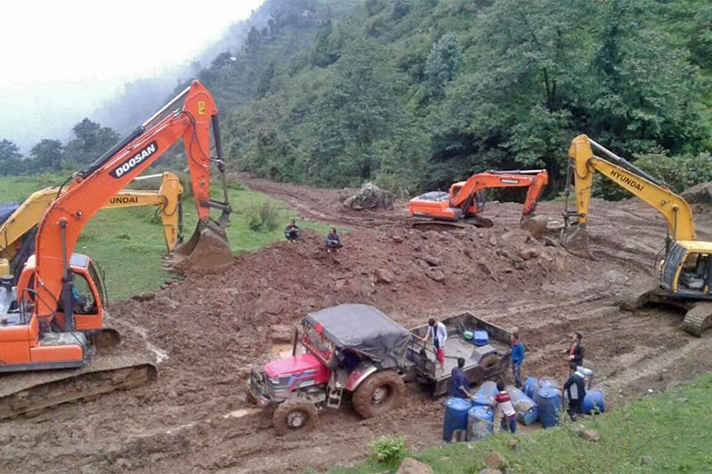 Skyvators being used for the construction of ring-road in Phidim Municipality of Panchthar district, on Tuesday, July 30, 2019. Photo: Laxmi Gautam/THT