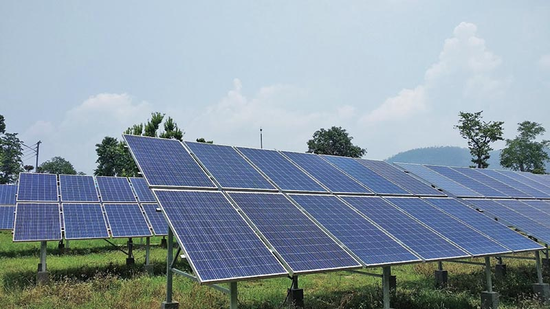 A general view of solar mini-grid system in Chaukune Rural Municipality of Gutu village, Surkhet. Photo: THT