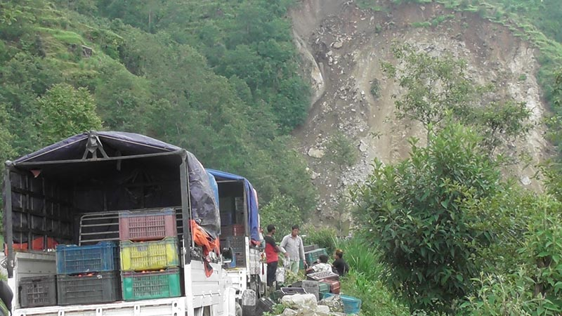 Trucks loaded with tomatoes remain stranded on the obstructed road at Pangrebhir in Phalgunanda Rural Municipality, Panchthar, along the Mechi Highway, on Saturday, July 20, 2019. Photo: THT