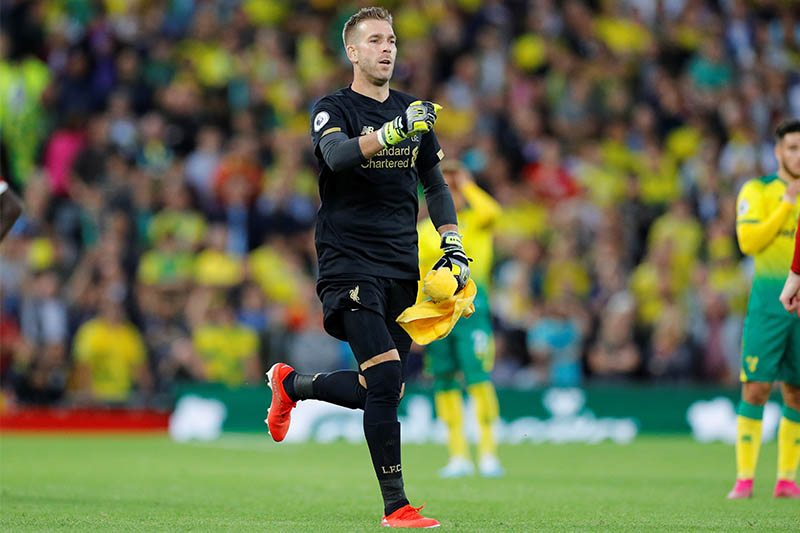 Liverpool's Adrian as he comes on as a substitute to replace Alisson. Photo: Reuters
