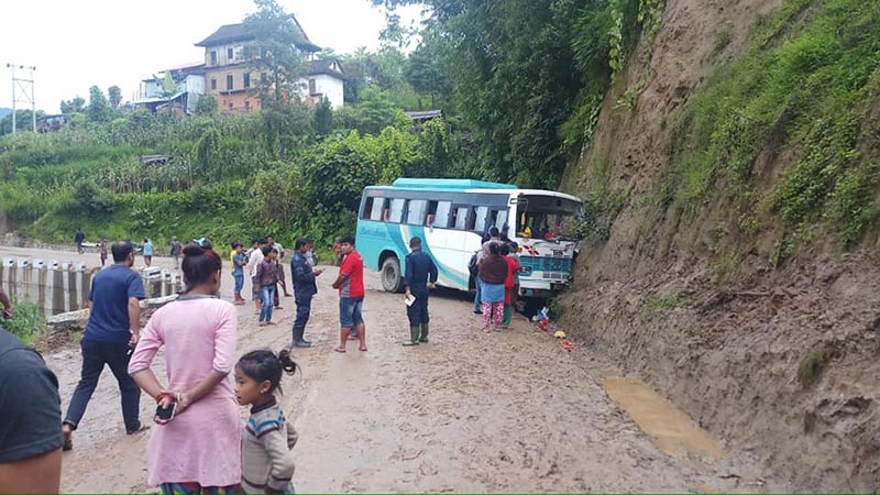 The site of the accident where a bus crashed into a hillside in Bhojpur Municipality of Bhojpur District on Sunday, August 11, 2019. Photo: Niroj Koirala/ THT