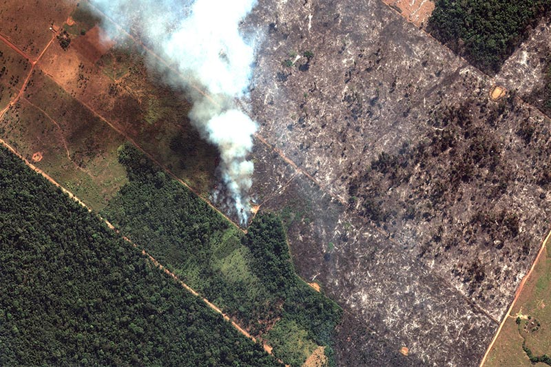 This satellite image from Maxar Technologies shows closeup view of a fire southwest of Porto Velho Brazil, on August 15, 2019. Brazil's National Institute for Space Research, a federal agency monitoring deforestation and wildfires, said the country has seen a record number of wildfires this year as of Tuesday, August 20. Photo: Satellite image u00a92019 Maxar Technologies via AP