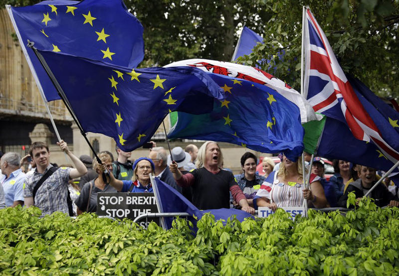 Anti-Brexit supporters wave flags and hold signs at College Green near the Houses of Parliament in central London, Wednesday, August 28, 2019. Photo: AP