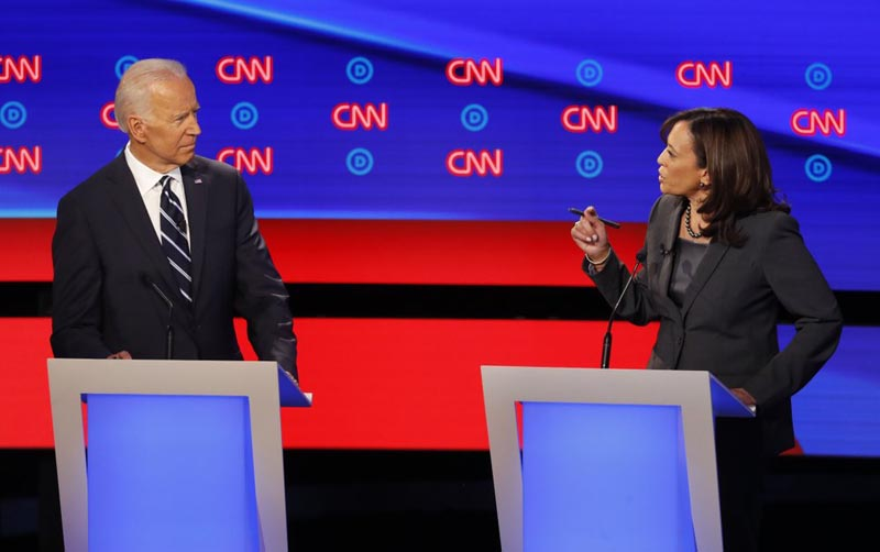 Former Vice President Joe Biden listens as Senator Kamala Harris, D-California, speaks during the second of two Democratic presidential primary debates hosted by CNN Wednesday, July 31, 2019, in the Fox Theatre in Detroit. Photo: AP