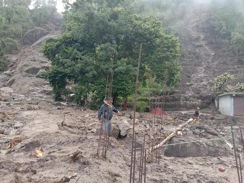 Jhagadedhara Tole in Gaurishankar Rural Municipality-2 of Dolakha district affected by the landslide that was triggered by rain on Friday night, as pictured on Saturday, August 3, 2019. Photo: Gokarna Prasad Bhandari/ THT