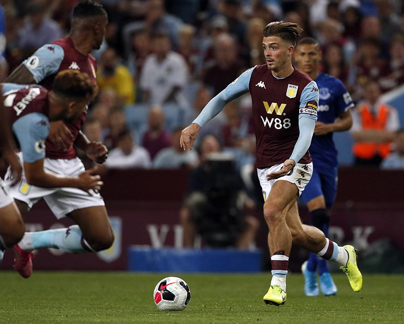 Aston Villa's Jack Grealish controls the ball during the English Premier League soccer match between Aston Villa and Everton at Villa Park in Birmingham, England, on Friday, August 23, 2019. Photo: AP
