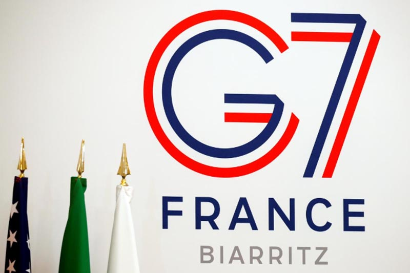 The logo of the upcoming August 2019 G7 Summit in Biarritz is seen during the Interior ministers of G7 nations meeting in Paris, France, on April 5, 2019. Photo: Reuters