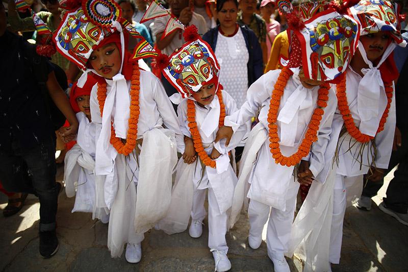 Boys participate in a procession to mark Gai Jatra, in Kathmandu, on Friday, August 16, 2019. Photo: Skanda Gautam/THT