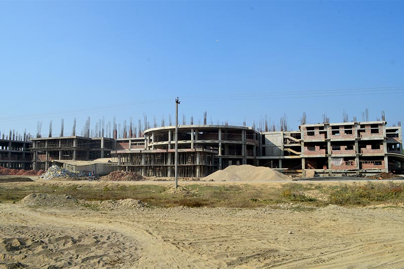 A view of under-construction campus buildings of Geta Medical College in Kailali district, as on Monday, August 19, 20129. Photo: Tekendra Deuba/THT