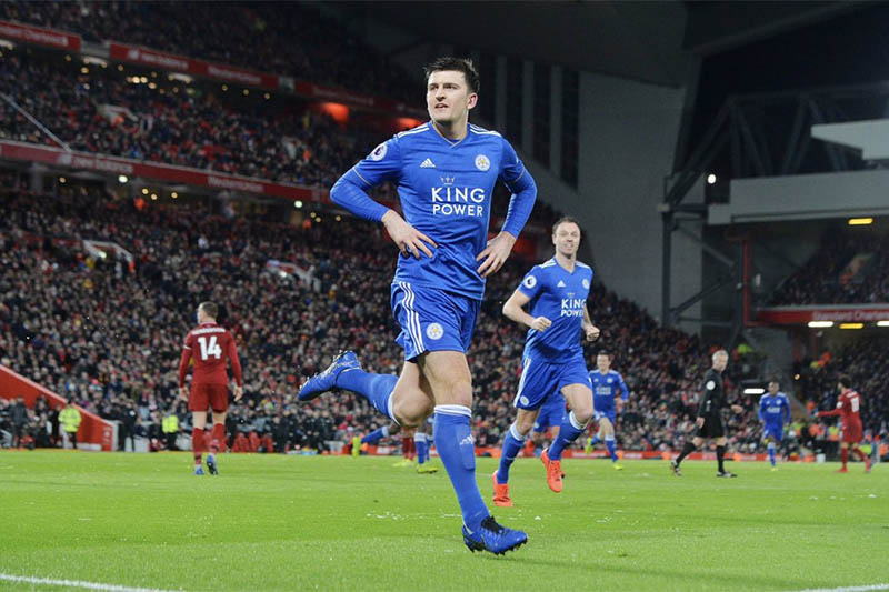 FILE: Leicester City defender Harry Maguire celebrates after scoring a goal against Liverpool during English Premier League. Courtesy: Twitter/Maguire