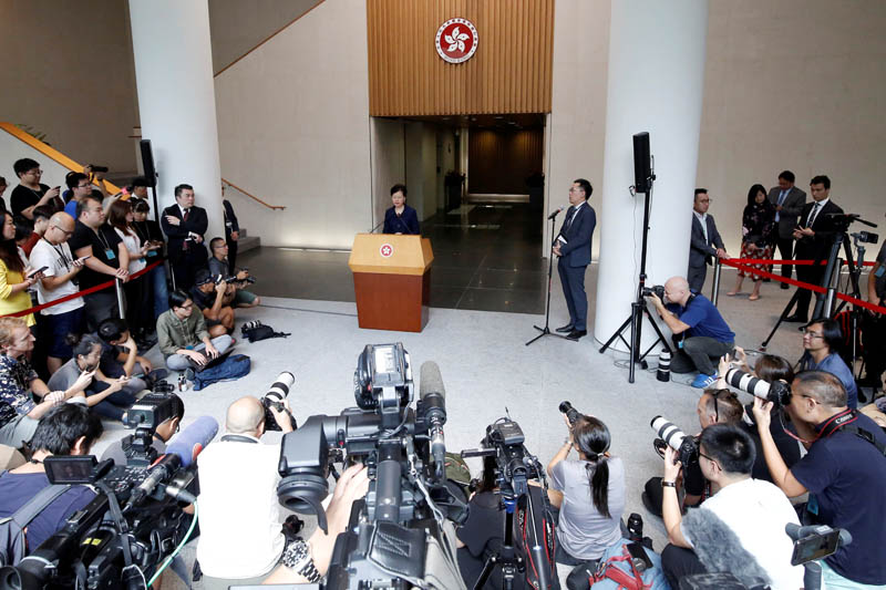 Hong Kong's Chief Executive Carrie Lam holds a news conference in Hong Kong, China, August 20, 2019. Photo: Reuters
