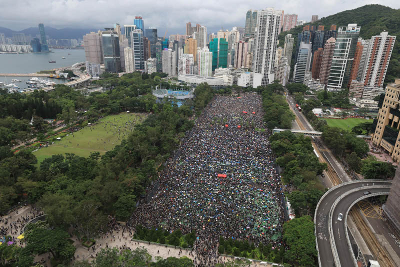 Protesters gather during a rally at Victoria Park in Hong Kong on Sunday, August 18, 2019. Photo: Apple Daily via AP
