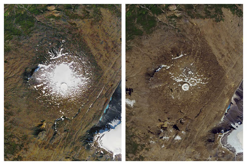 This combination of September 14, 1986, left, and August 1, 2019 photos provided by NASA shows the shrinking of the Okjokull glacier on the Ok volcano in west-central Iceland. Photo: NASA via AP
