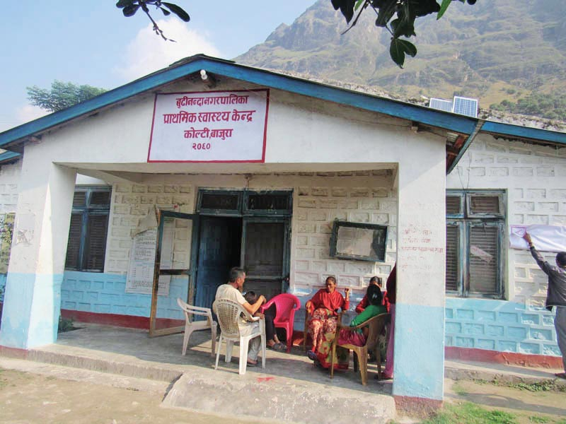 The building of Kolti Primary Health Service Centre in Badimalika Municipality, Bajura. Kolti Primary Health Service remains the health centre that has high number of maternity services takers in the municipality. Photo: Prakash Singh/THT