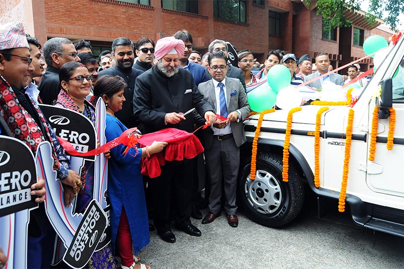 Indian Ambassador Manjeev Singh Puri attending the 73rd Independence Day programme held to gift ambulances and vehicles to Nepal, in Kathmandu, on Thursday, August 15, 2019.  Photo: Balkrishna Thapa Chhetri/THT
