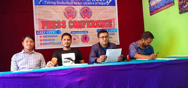 PDCN Chairman Arun Karki reads out the press release as NBL General Secretary Namit Bahadur Thapa (second from left) and other officials look on during a press meet in Kathmandu on Thursday, August 1, 2019. Photo: THT