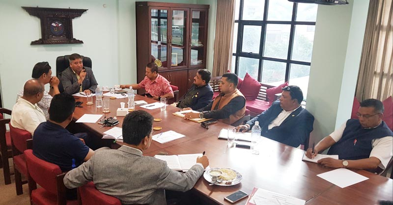 Officials of NOC and NSC taking part in a meeting in Lalitpur on Monday, August 8,2019.