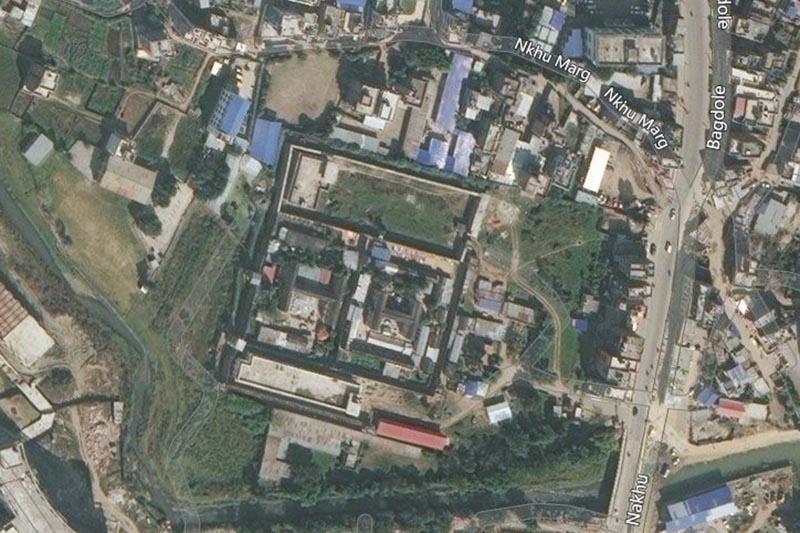 This image shows aerial view of Nakkhu Jail, in Lalitpur. Image: Bing Maps