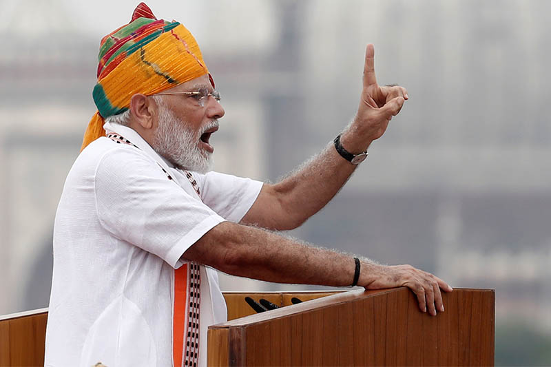 Indian Prime Minister Narendra Modi addresses the nation during Independence Day celebrations at the historic Red Fort in Delhi, India, August 15, 2019. Photo: Reuters