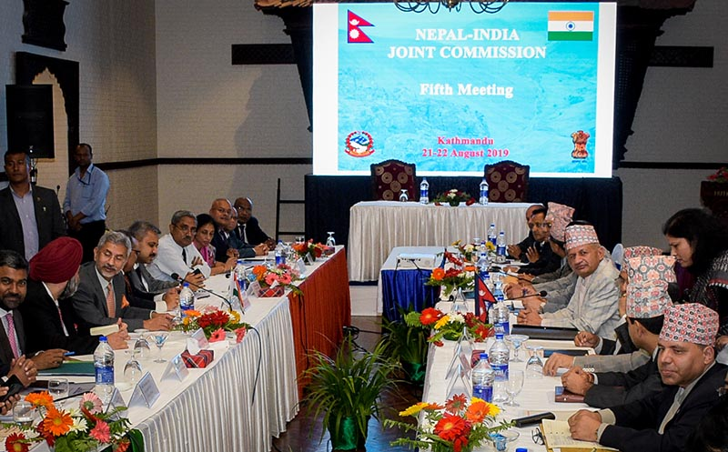 Minister of Foreign Affairs Pradeep Kumar Gyawali and Indian External Affairs Minister Subrahmanyam Jaishankar during the fifth meeting of Nepal-India Joint Commission, in Kathmandu, on Wednesday, August 21, 2019. Photo: Naresh Shrestha/ THT