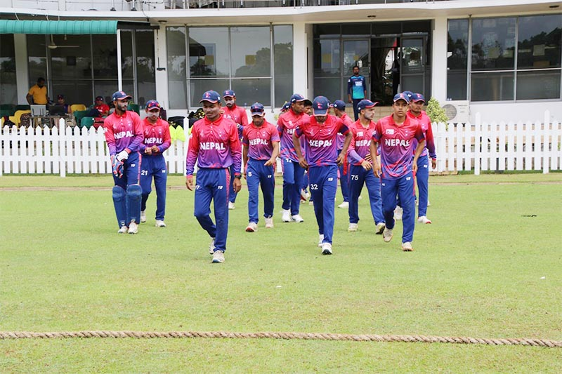 Nepal youth cricket team marching into the pitch during their third and final practice match against Chilaw Marians Cricket Club ahead of the U-19 Asia Cup, in Sri Lanka, on Friday, August 30, 2019. Photo: THT