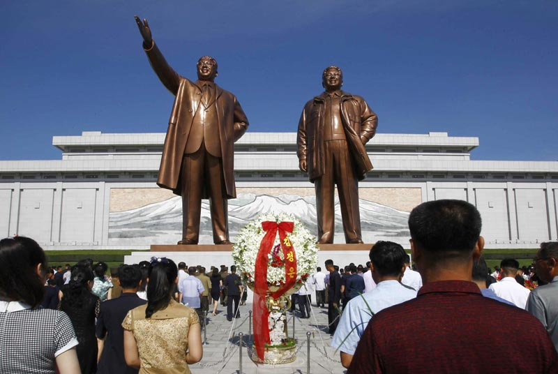 FILE - In this July 8, 2019, file photo, people visit Mansu Hill to pay tribute to the late leaders Kim Il Sung and Kim Jong Il on the occasion of the 25th anniversary of Kim Il Sung's death, in Pyongyang, North Korea. Photo: AP