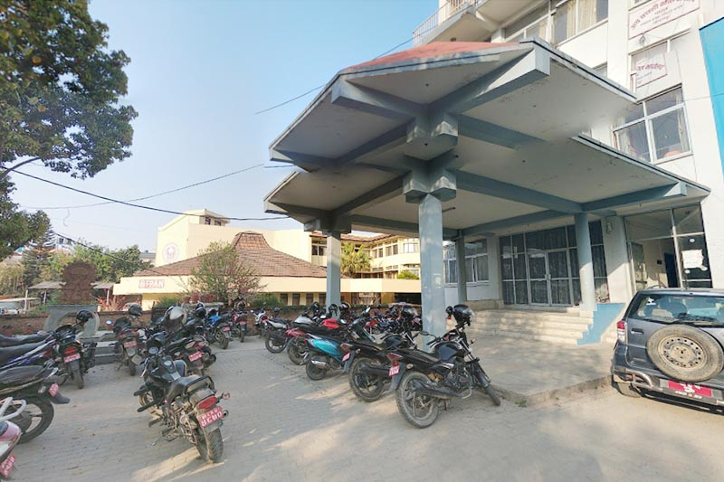 This undated image shows motorcyles parked on the premises of Patan High Court, in Pulchowk, Lalitpur. Photo courtesy: Bishowbijaya Pandey