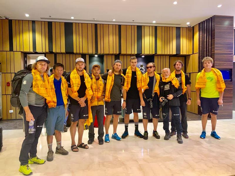 Polish team that will attempt to scale Mt Everest in the autumn season pose for a team photo. Photo: Chhang Dawa Sherpa/ Seven Summit Treks