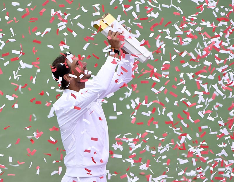Rafael Nadal of Spain with the championship trophy after defeating Daniil Medvedev of Russia (not pictured) in the finals during the Rogers Cup tennis tournament at Stade IGA, in Montreal, Quebec, Canada, on Aug 11, 2019. Photo: Eric Bolte-USA TODAY Sports via Reuters
