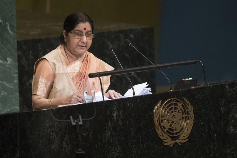 FILE - In a September 29, 2018 file photo, Foreign Minister Sushma Swaraj addresses the 73rd session of the United Nations General Assembly, at UN headquarters. Indiau0092s former external affairs minister and a leader of the ruling Hindu nationalist Bharatiya Janata Party Sushma Swaraj died Tuesday, August 6, 2019 at a hospital in New Delhi. Photo: AP