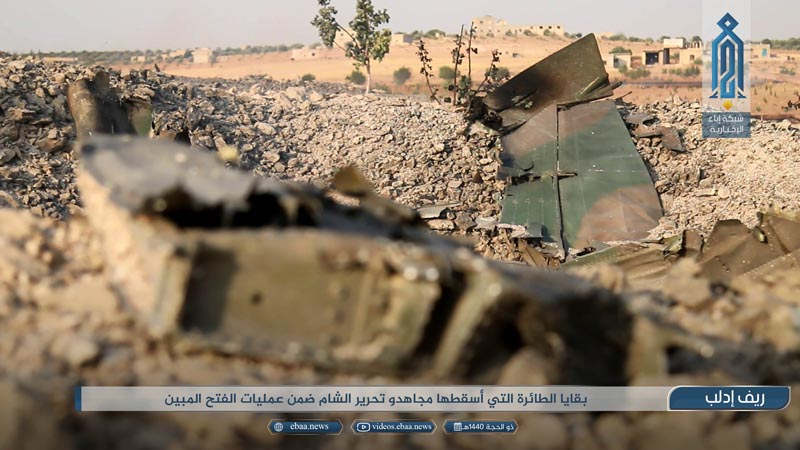 This photo provided by the Ibaa News Agency, the media arm of al-Qaida's branch in Syria, purports to show part of a Syrian warplane that was shot down by rebel fighters over Idlib province in Syria, Wednesday, August 14, 2019. Photo: Ibaa News Agency via AP