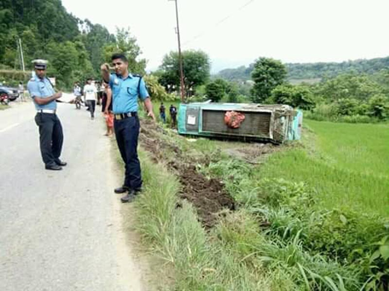 A view of the accident site where a bus skidded off the road at Dhav in Bandipur Rural Municipality-8 of Tanahun district on Sunday, August 4, 2019. Photo: Madan Wagle/ THT
