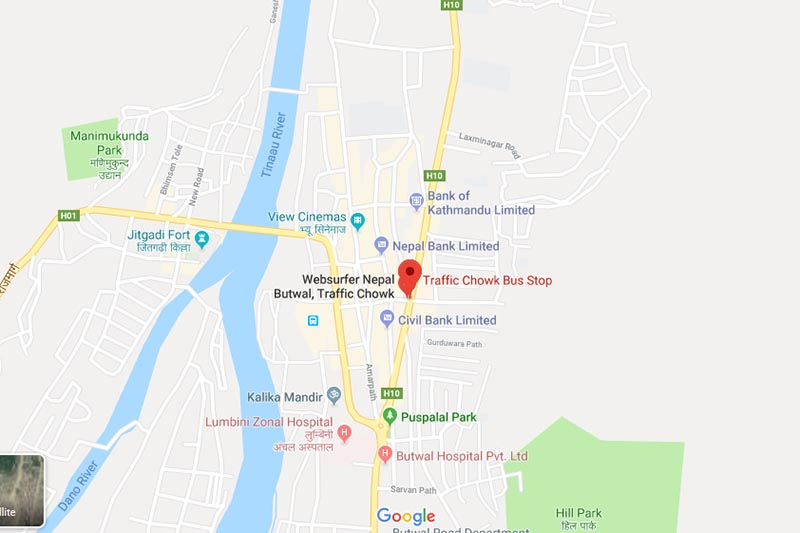 This image shows Traffic Chok, in Butwal Sub-metropolitan City in Rupandehi district. Image: Google Maps