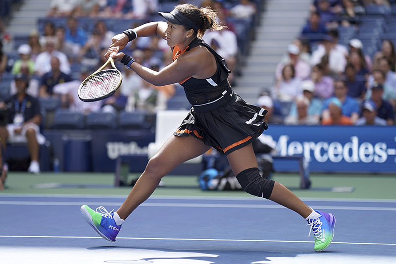 Naomi Osaka, of Japan, returns a shot to Anna Blinkova, of Russia, during the first round of the US Open tennis tournament,in New York, on Tuesday, August 27, 2019. Photo: AP