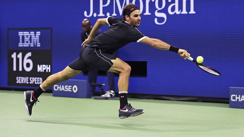 Roger Federer stretches for a return against Sumit Nagal during the first round of the US Open tennis tournament in New York, Monday, August 26, 2019. Photo: AP